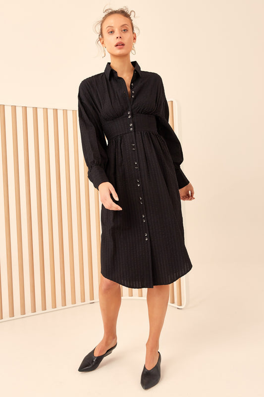 REFORM LONG SLEEVE DRESS black