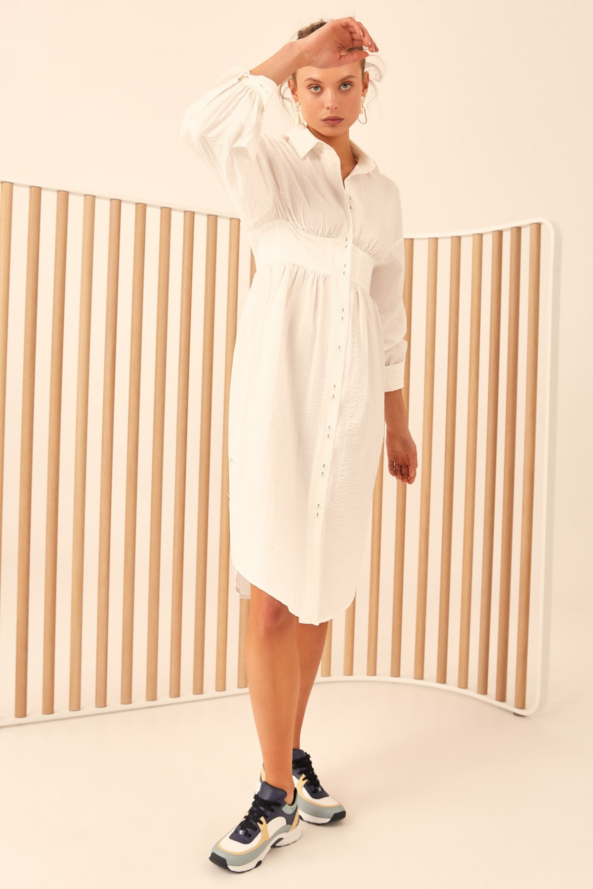 REFORM LONG SLEEVE DRESS ivory