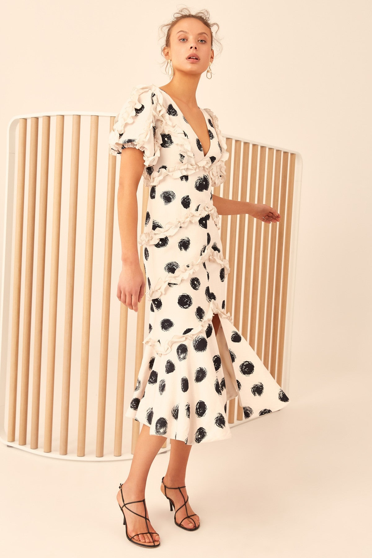 THOUSAND TIMES MIDI DRESS chalk spot