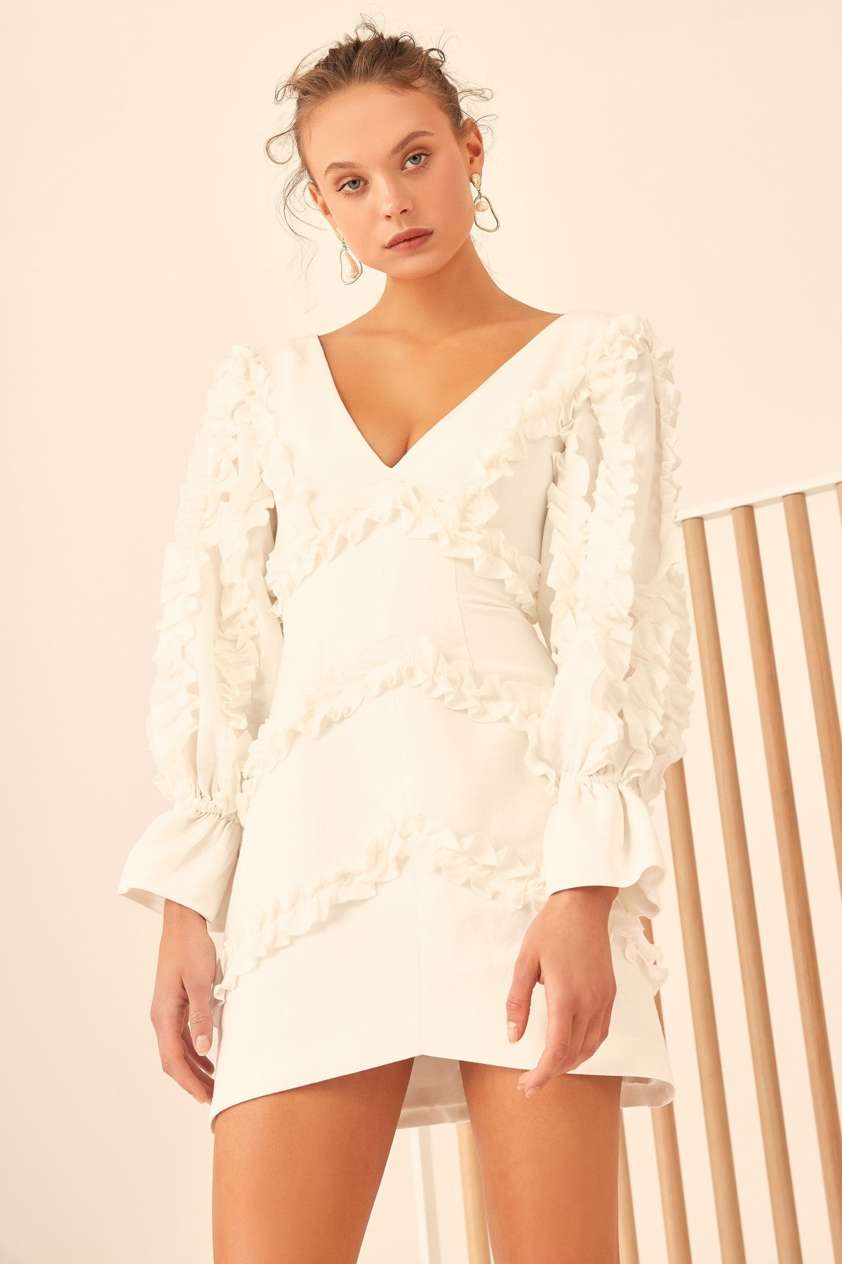THOUSAND TIMES LONG SLEEVE DRESS ivory