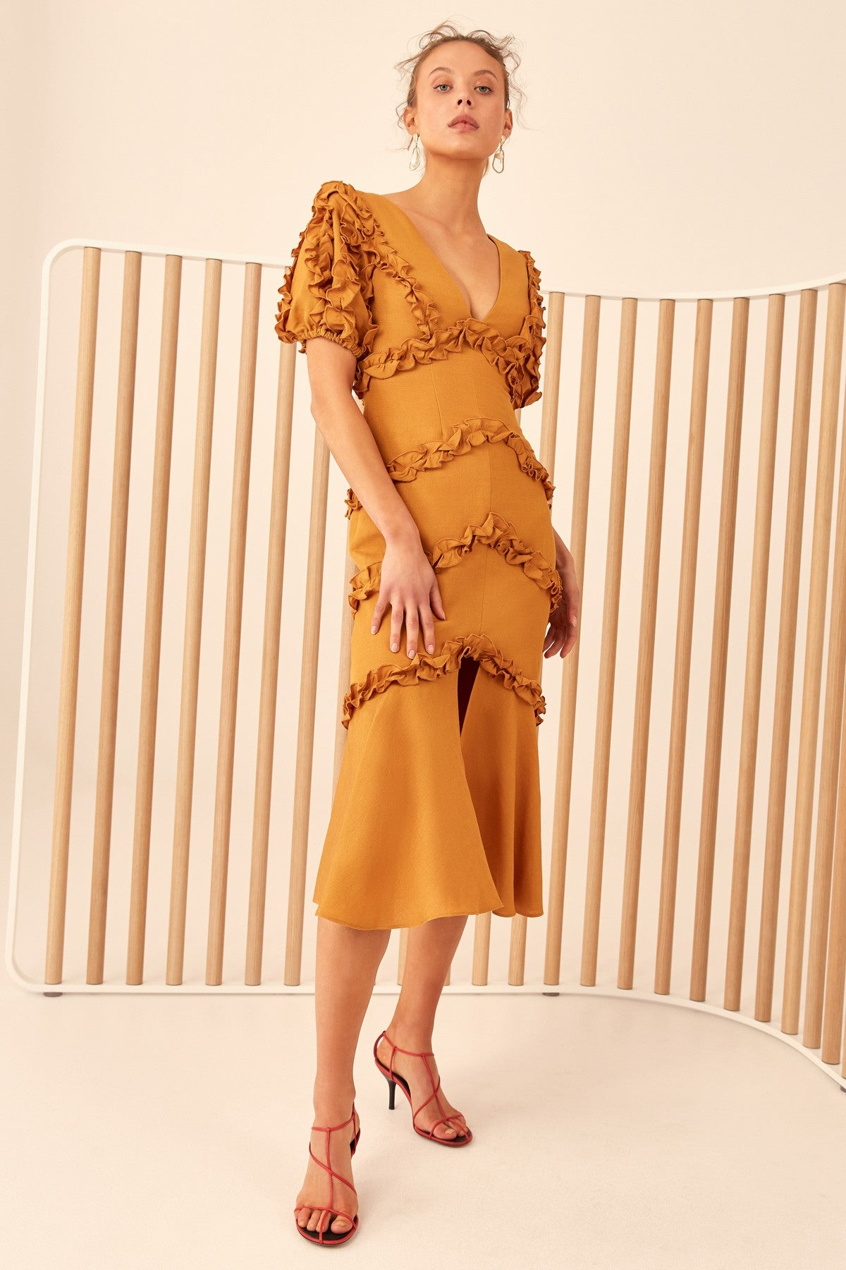 THOUSAND TIMES MIDI DRESS marigold