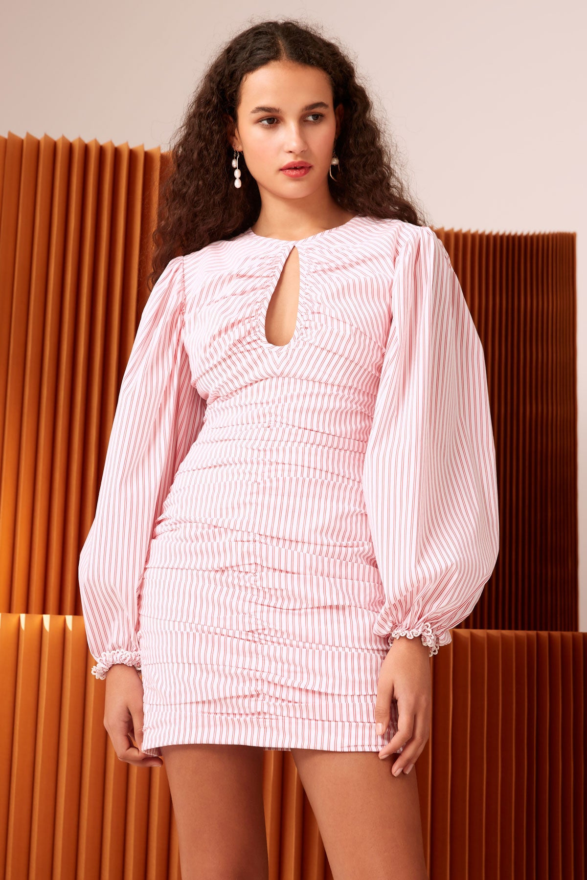 CLOSE ENOUGH LONG SLEEVE DRESS ivory stripe