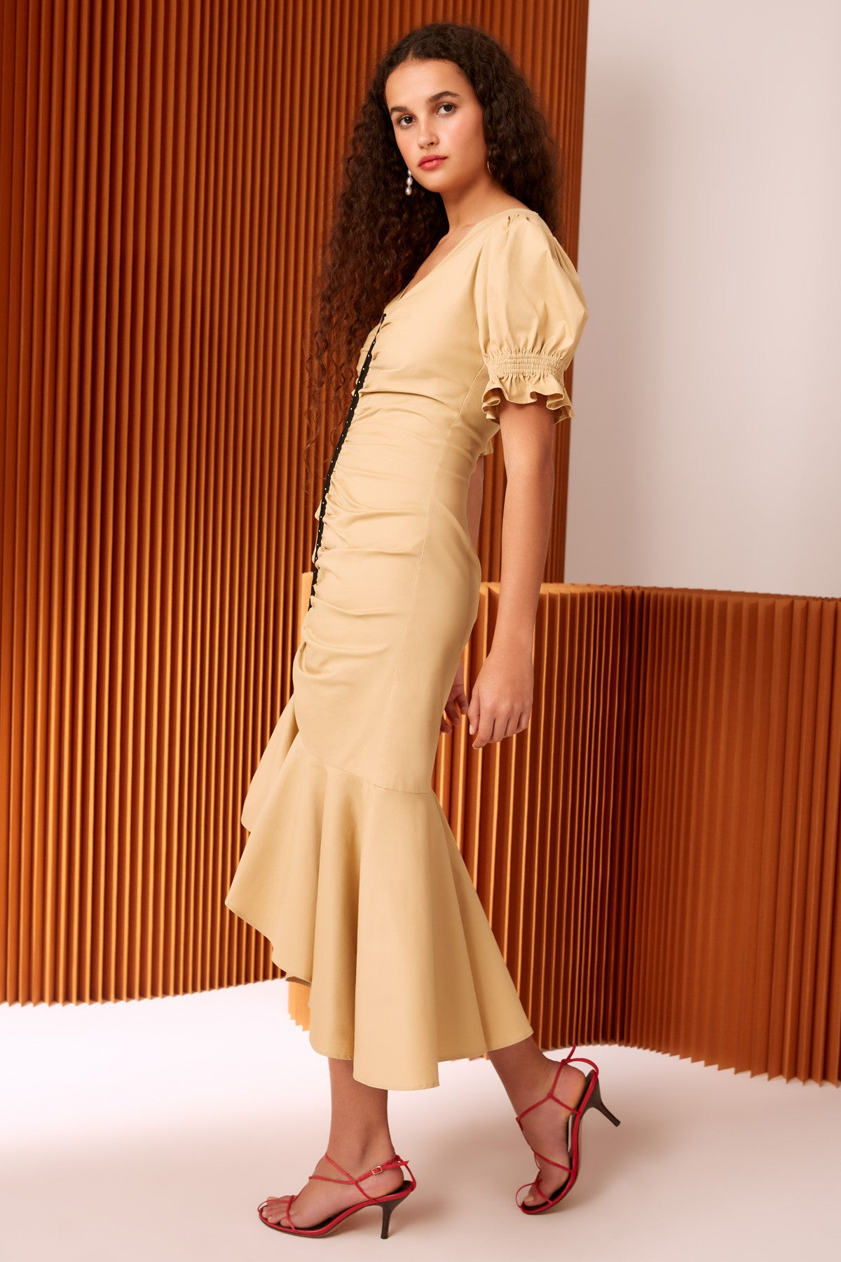 IMBUE MIDI DRESS bone