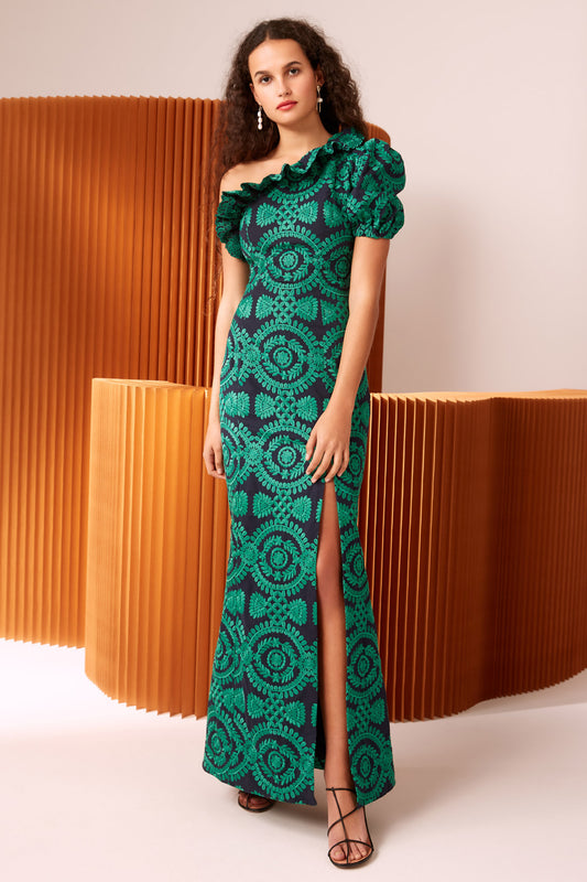 IMPRESSED GOWN navy w green
