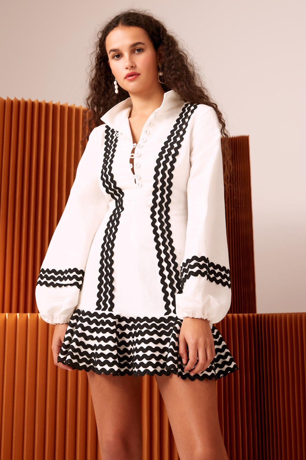INCISE LONG SLEEVE DRESS ivory