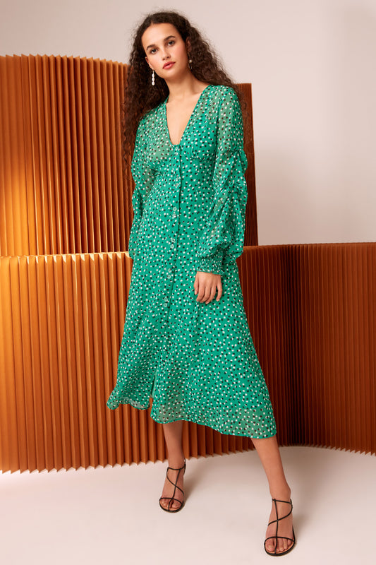 LOYALTIES MIDI DRESS green ditsy floral