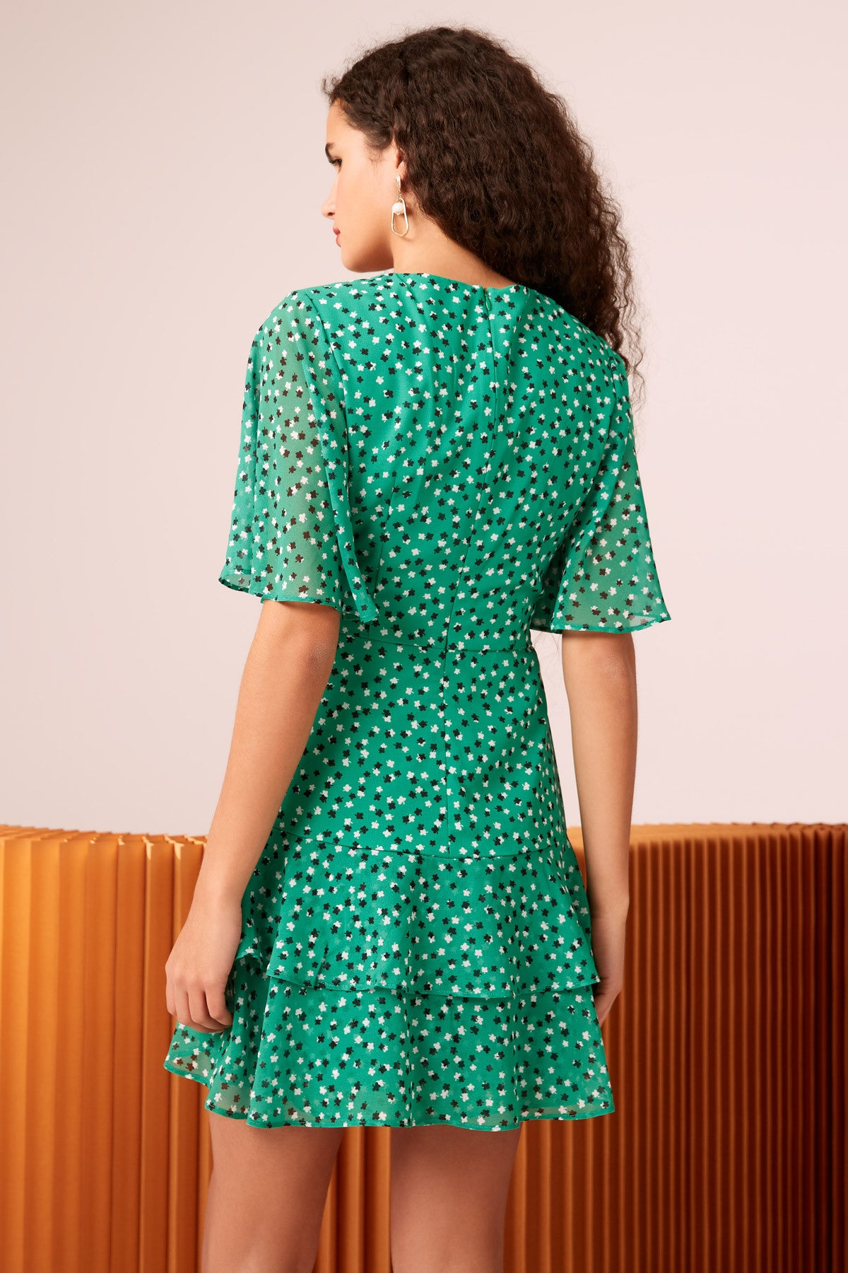 LOYALTIES MINI DRESS green ditsy floral