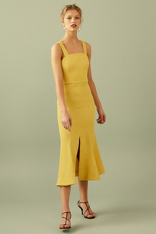 APEX MIDI DRESS yellow