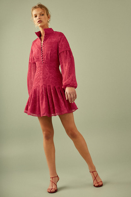 ON AND OFF LONG SLEEVE DRESS rose abstract