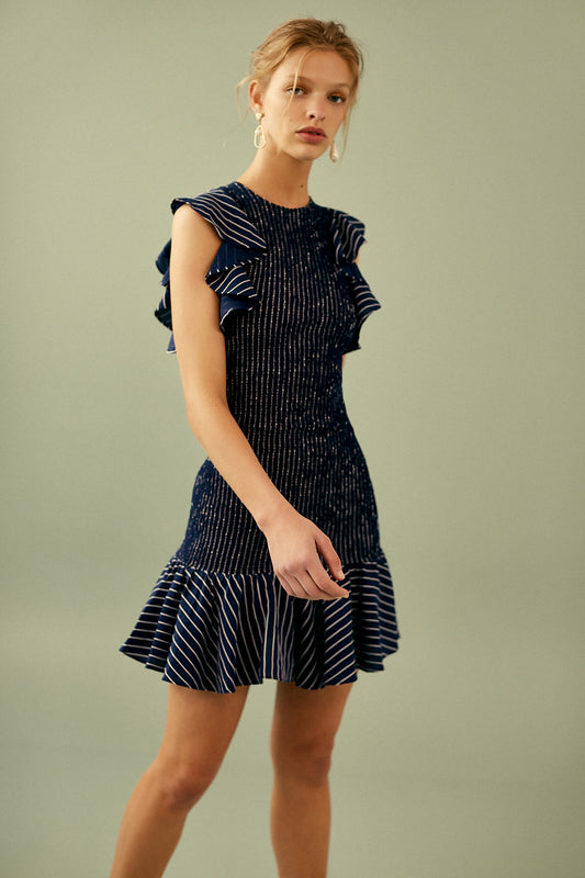 SHADOW OF MINI DRESS  navy w ivory