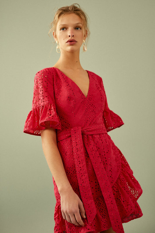 SOLSTICE MINI DRESS rose red