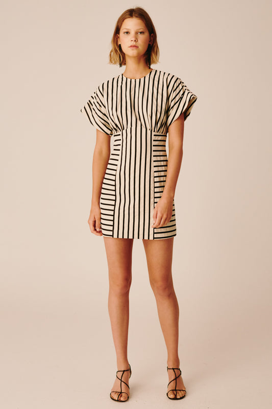 HIGH AS HOPE SHORT SLEEVE DRESS ecru stripe