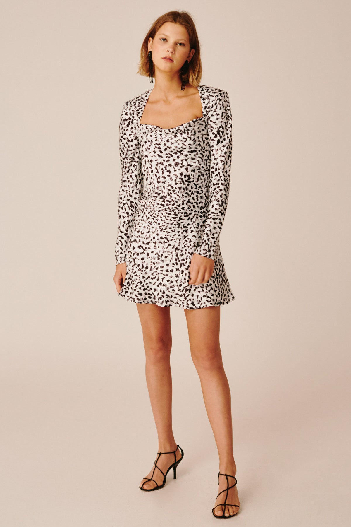 POLARISED LONG SLEEVE DRESS ivory painted spot
