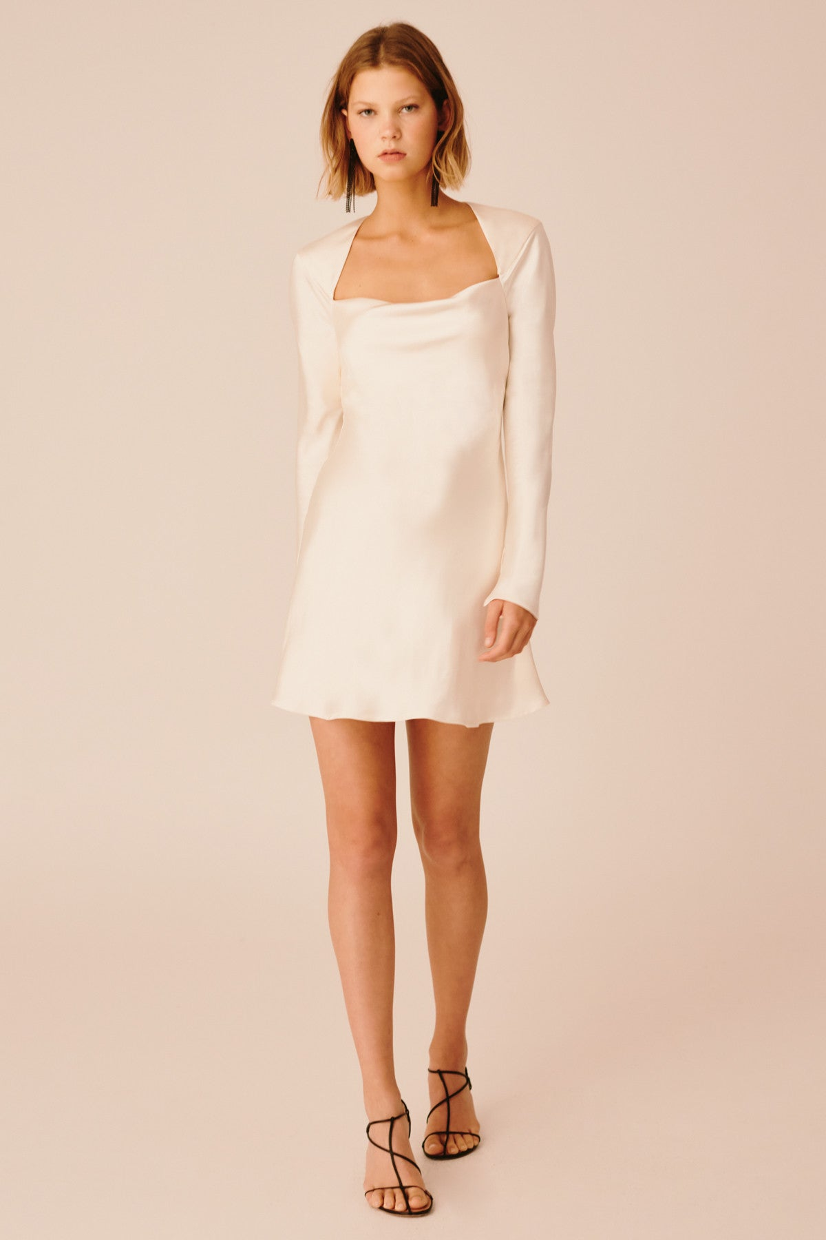 POLARISED LONG SLEEVE DRESS chalk