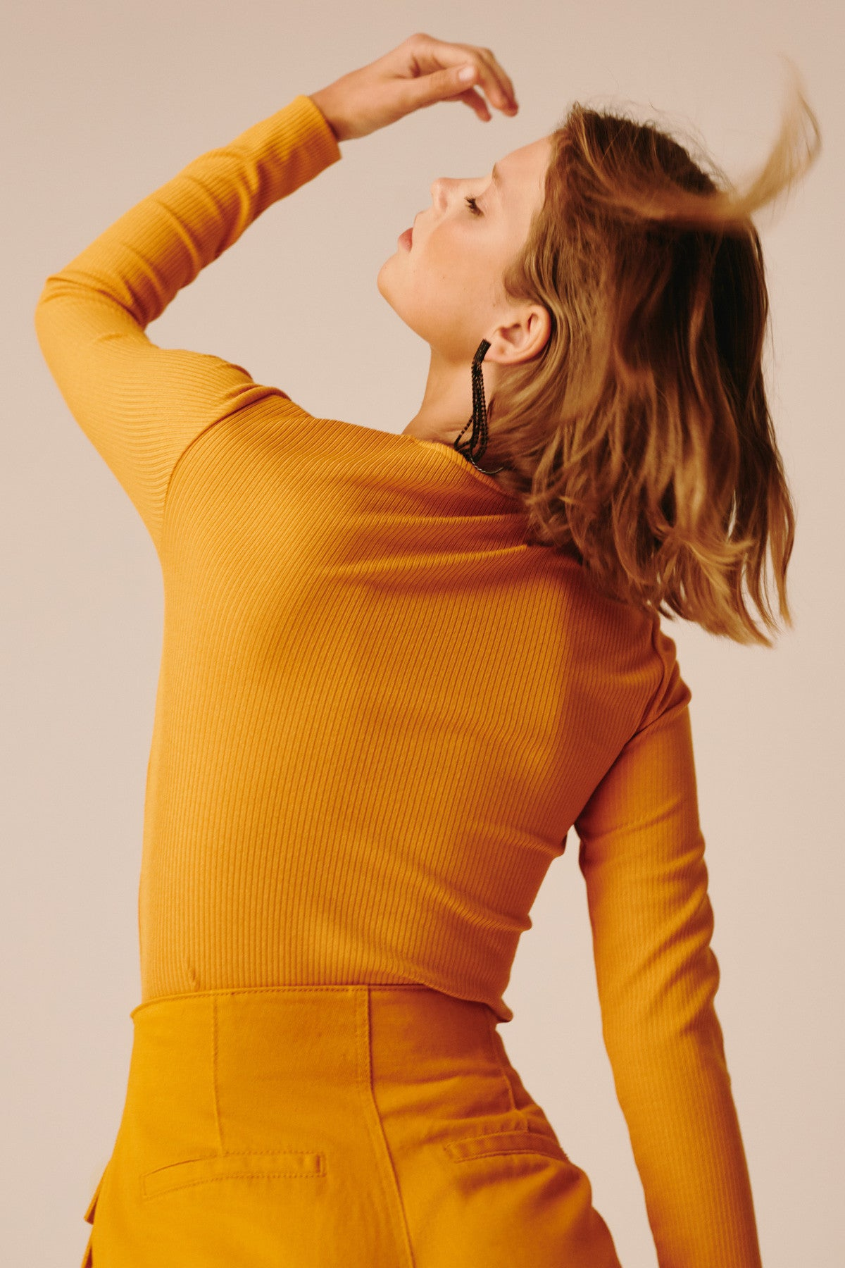LATE WORDS LONG SLEEVE TOP mustard