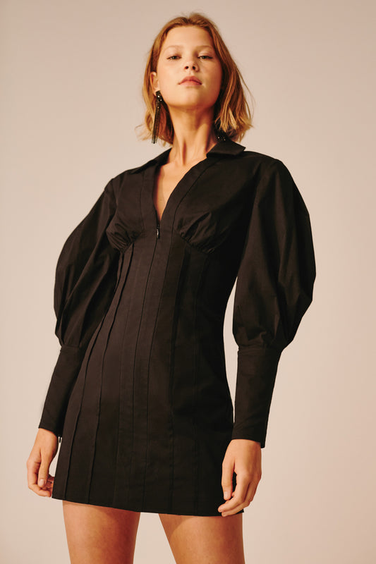 FAULT LINE LONG SLEEVE DRESS black