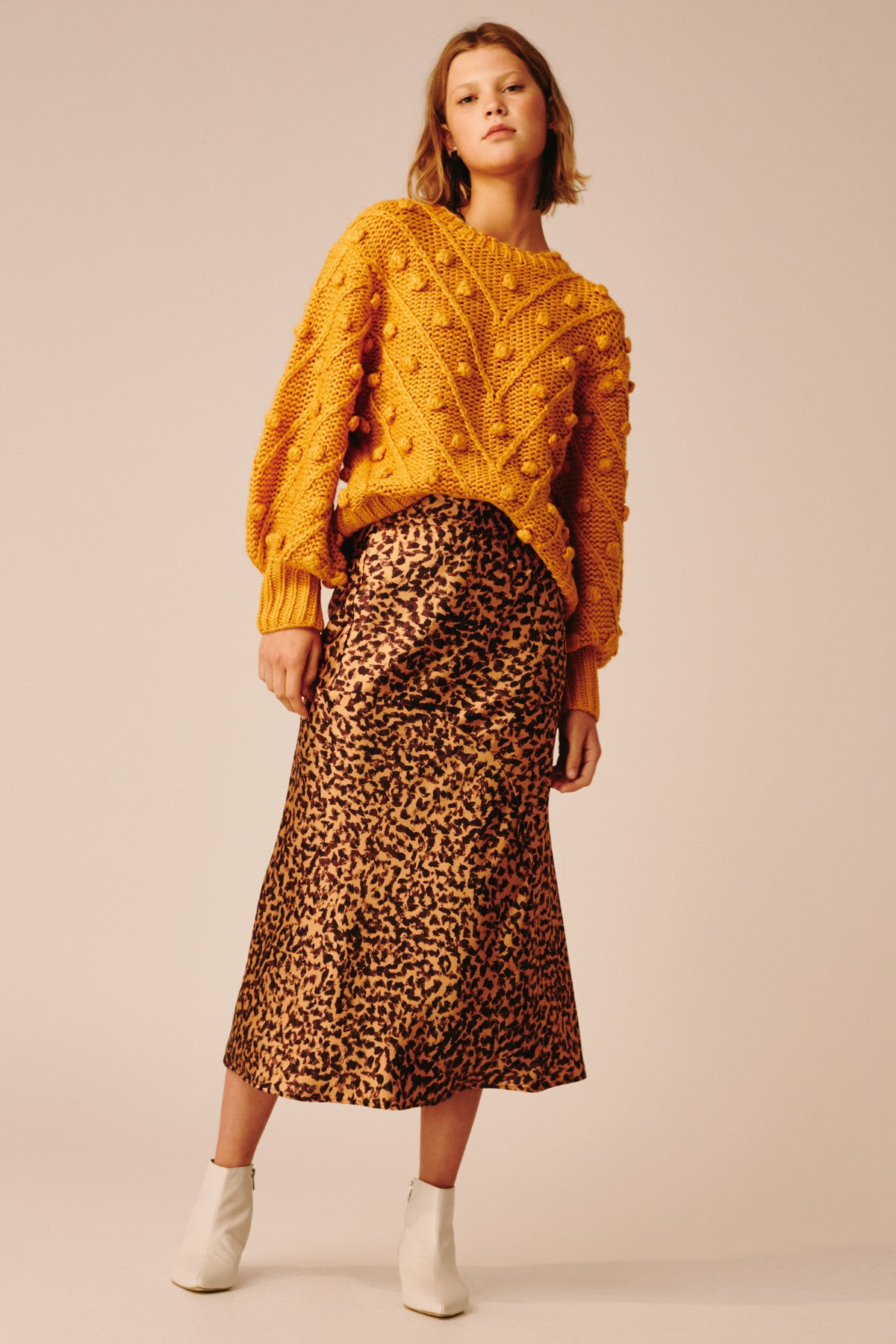 POLARISED SKIRT mustard painted spot