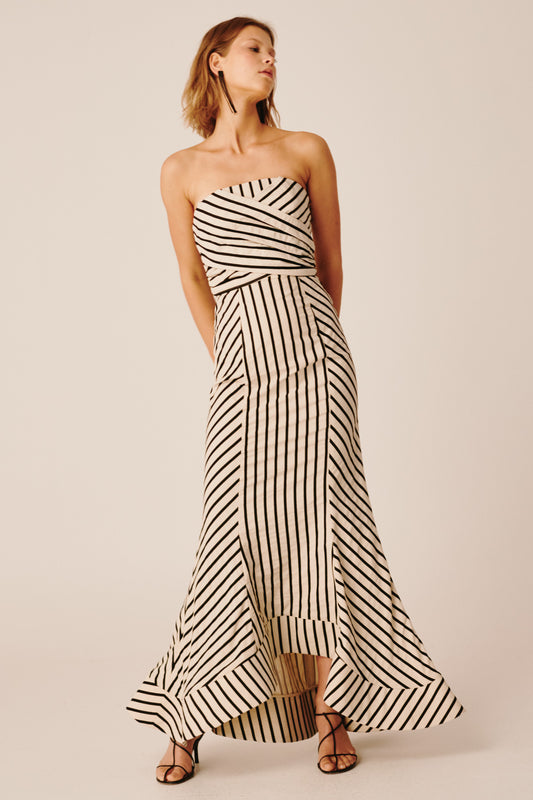 HIGH AS HOPE GOWN ecru stripe