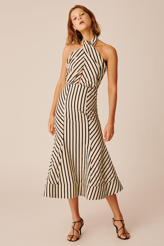 HIGH AS HOPE MIDI DRESS ecru stripe