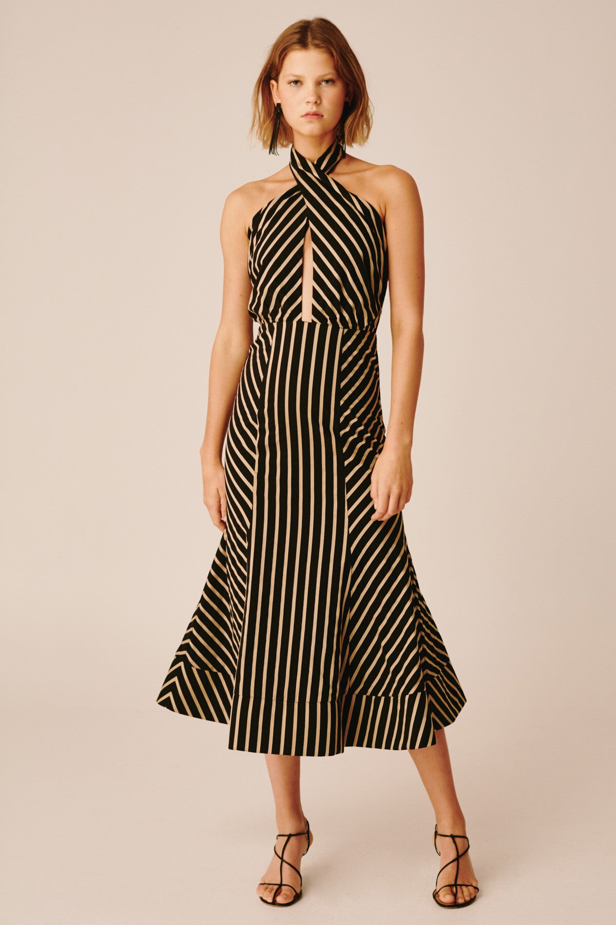 HIGH AS HOPE MIDI DRESS black stripe