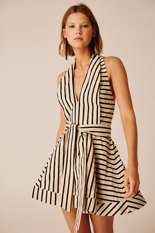 HIGH AS HOPE DRESS ecru stripe