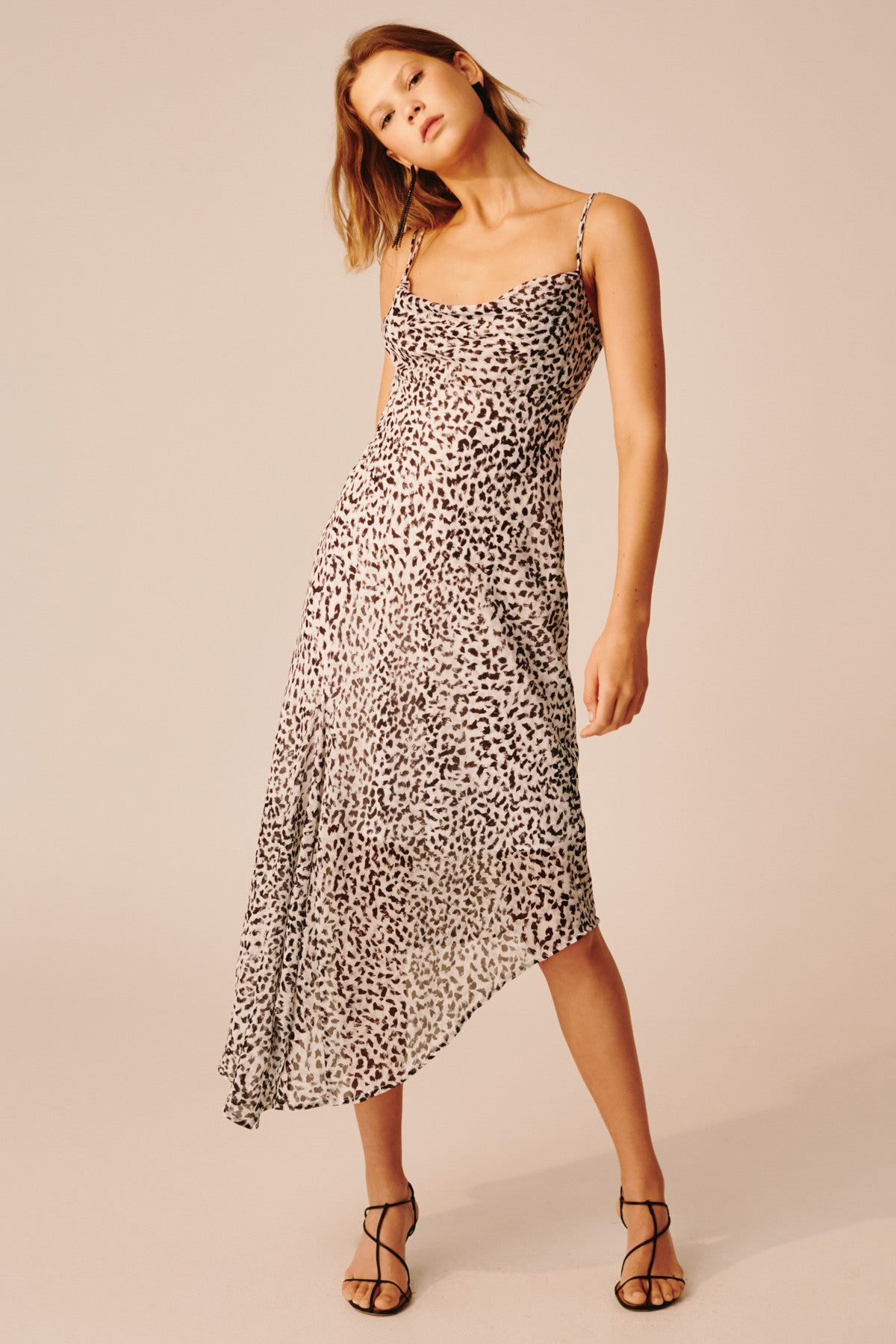 APPARENT MIDI DRESS ivory painted spot