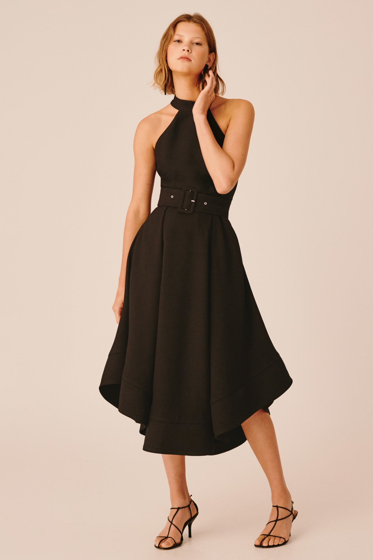 CONFIRMATIVE MIDI DRESS black