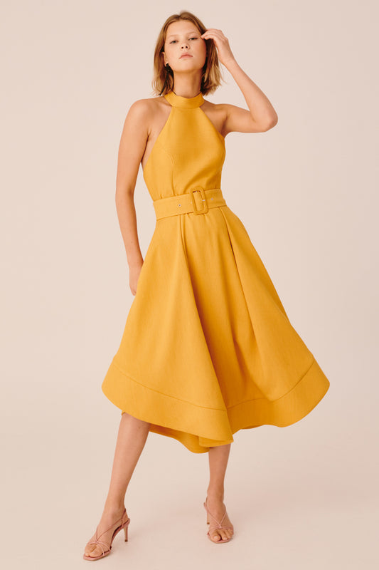 CONFIRMATIVE MIDI DRESS mustard