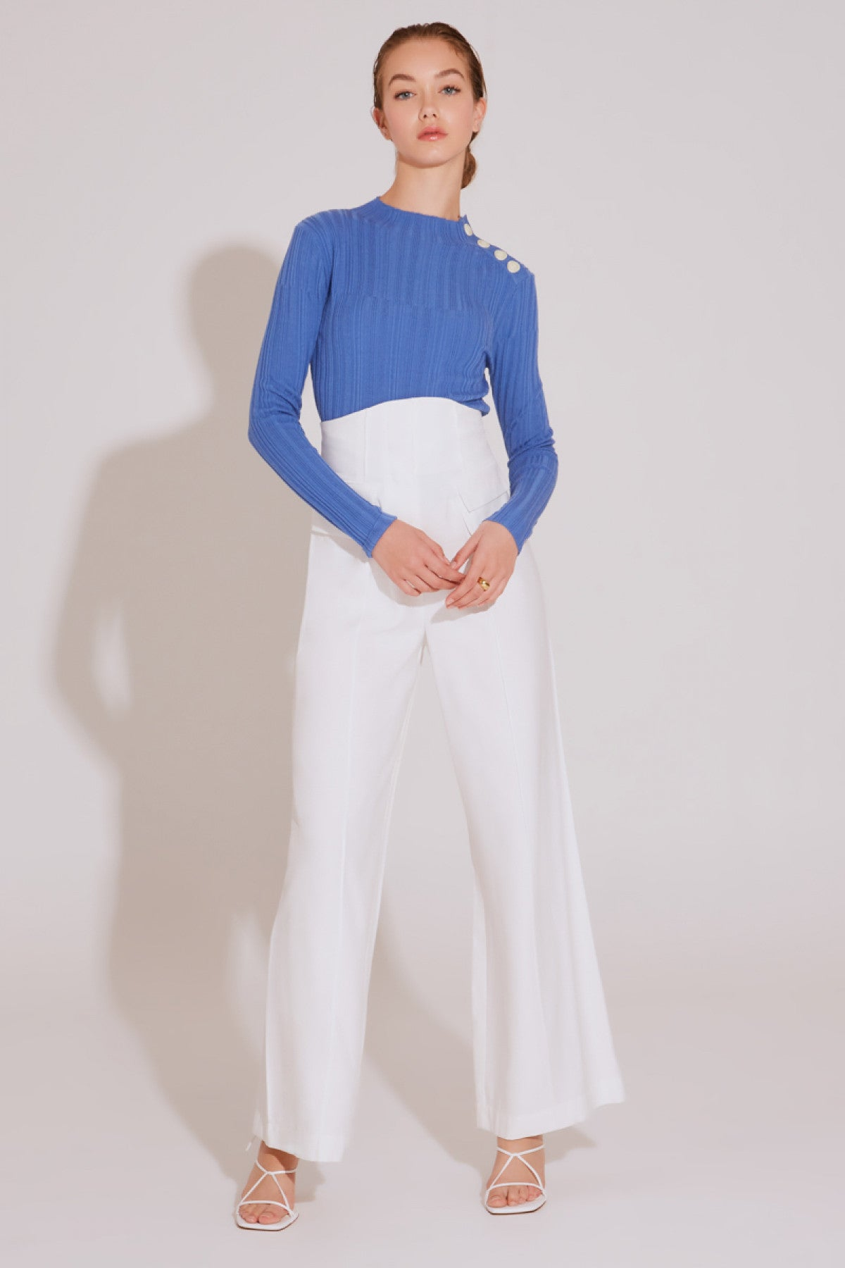 STAGES LONG SLEEVE KNIT TOP blue