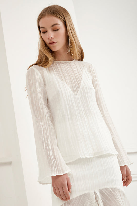 EVOKE LONG SLEEVE TOP ivory