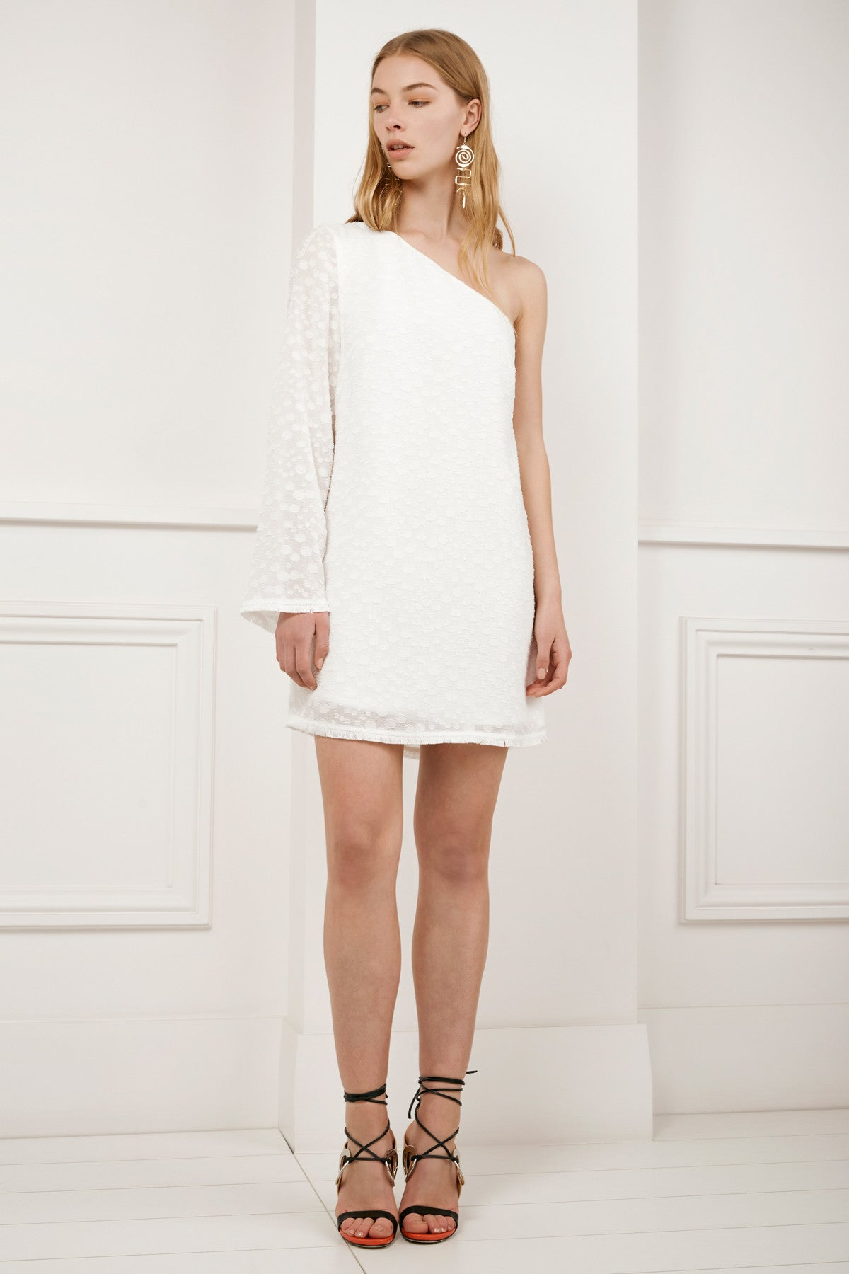 STATIC SPACE LONG SLEEVE DRESS ivory