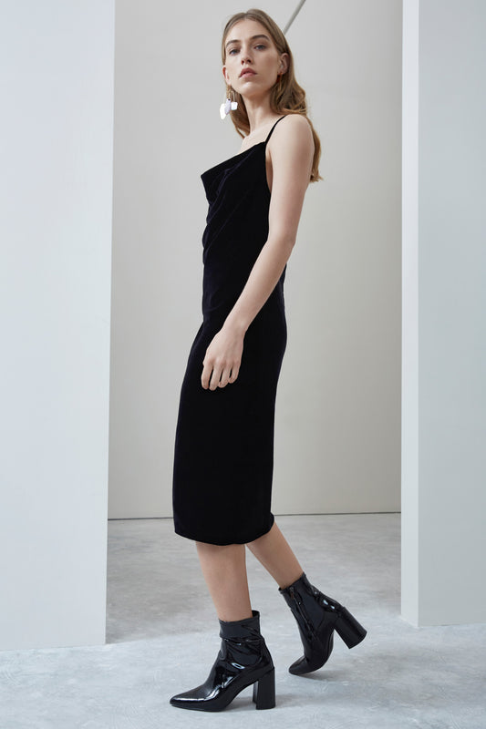 FADING NIGHTS COWL NECK DRESS black
