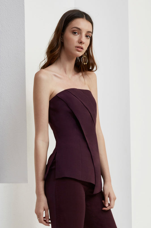 DON'T STOP BUSTIER TOP aubergine