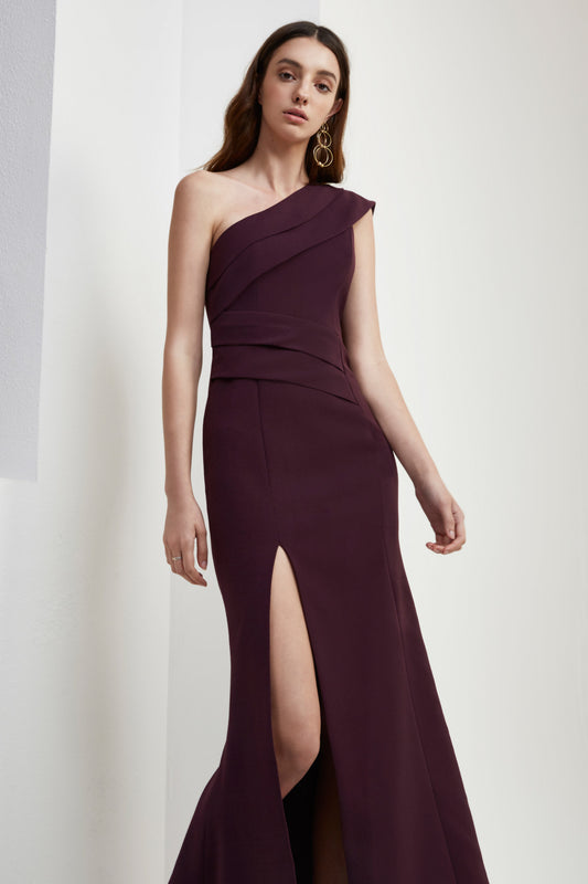 DON'T STOP FULL LENGTH DRESS aubergine
