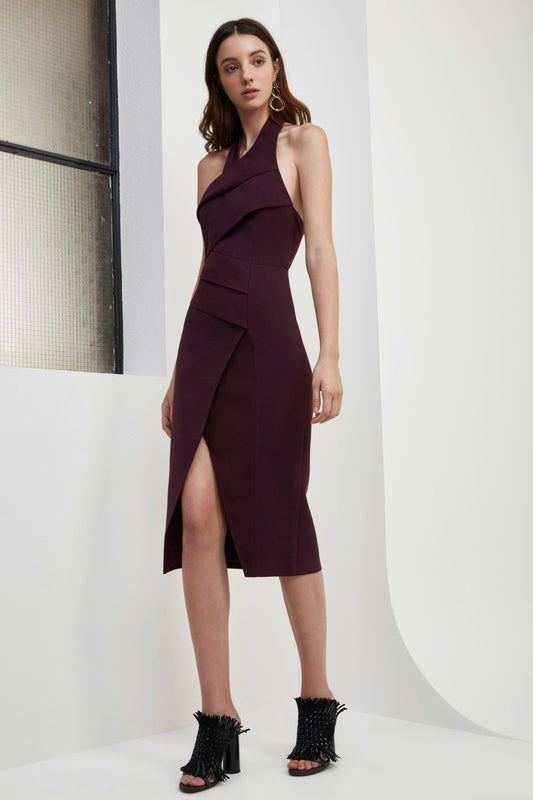 DON'T STOP MIDI DRESS aubergine