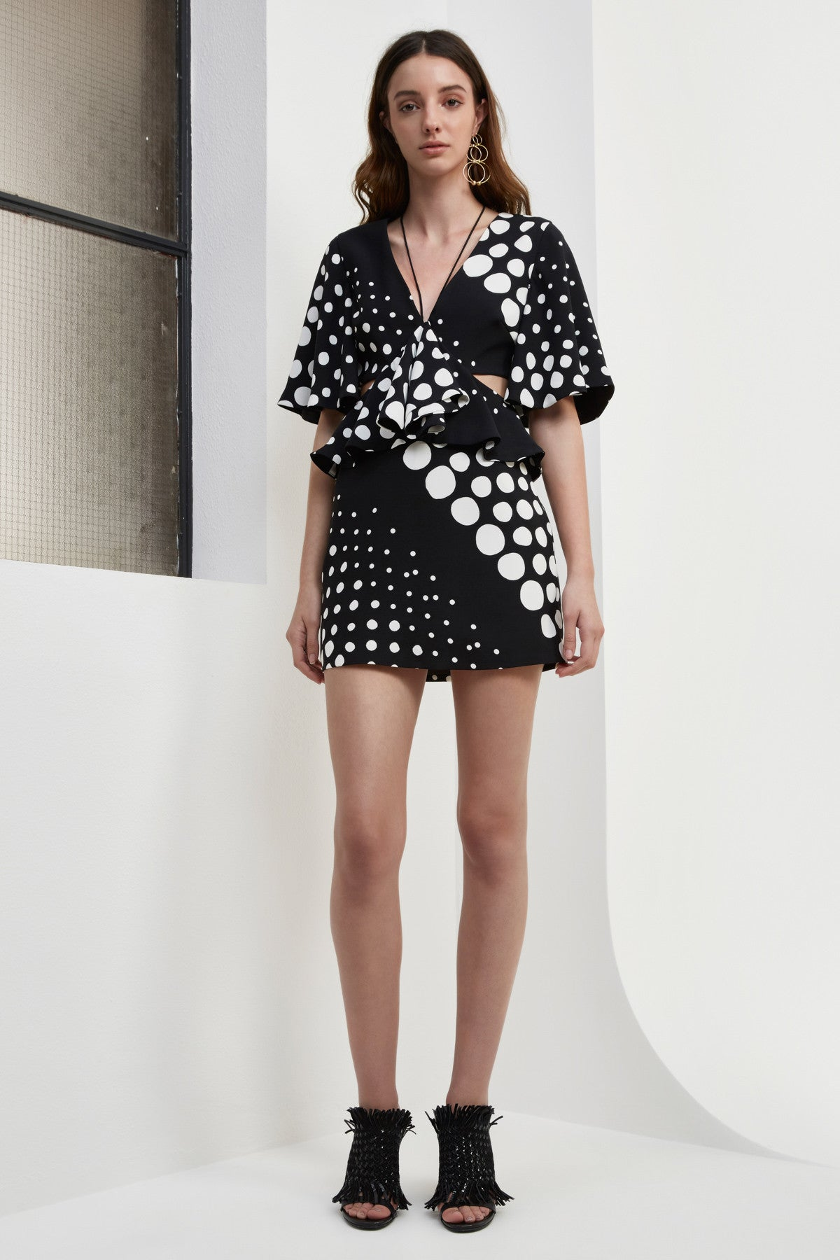 LOSE CONTROL MINI DRESS black and white spot