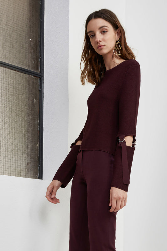 FRAMED KNIT JUMPER aubergine