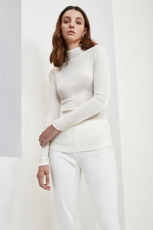 INTERLUDE LONG SLEEVE TOP ivory