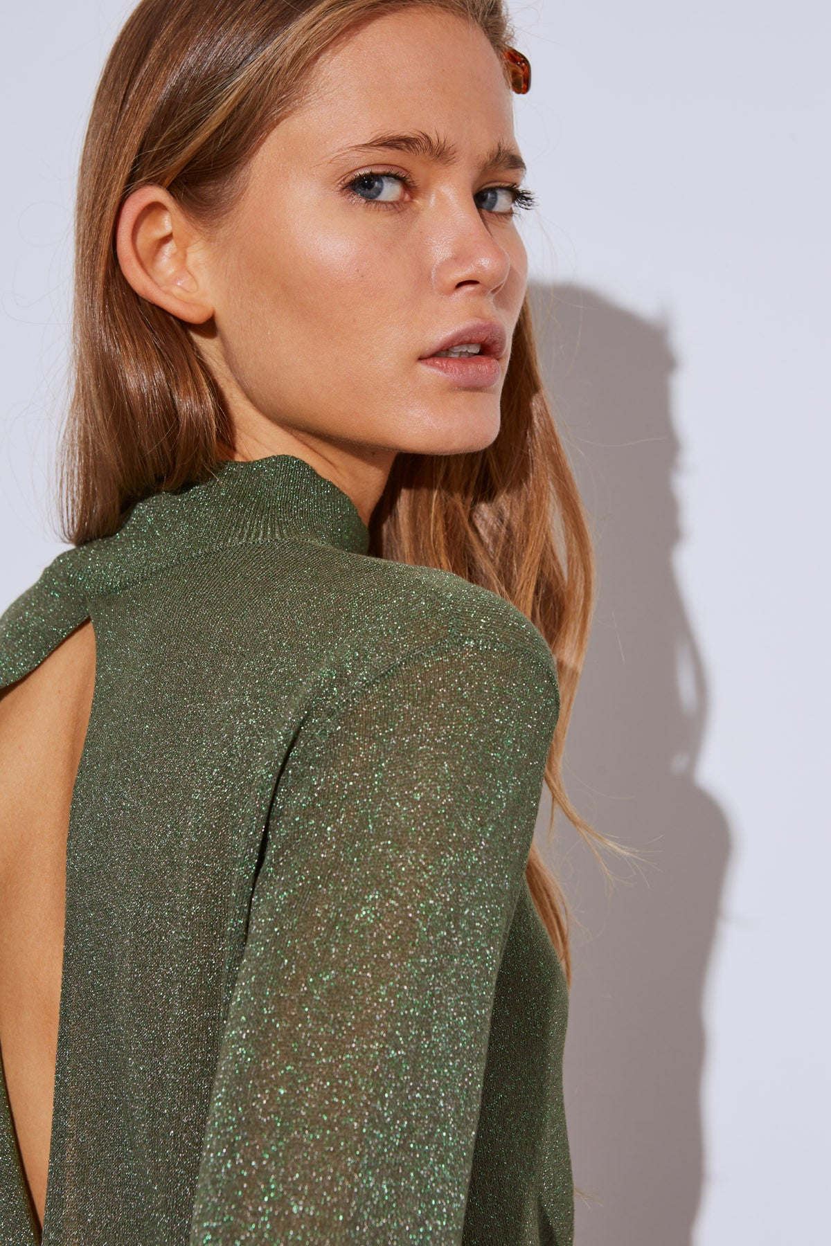 BOUNDARY KNIT TOP green metallic