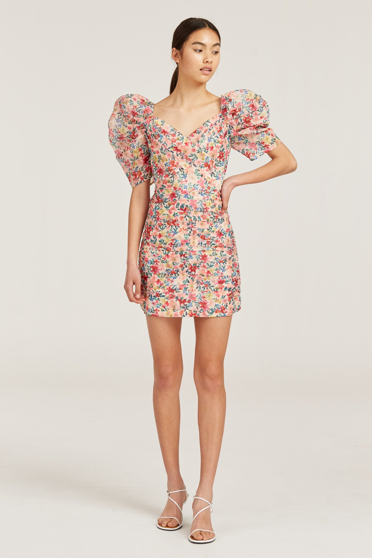 AND EVER MORE SHORT SLEEVE DRESS cream garden floral