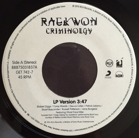 #158 Raekwon-Criminolgy B/W Glaciers Of Ice