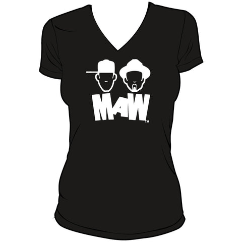 Masters At Work-MAW V Neck Tee White On Black