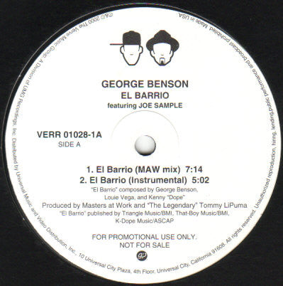 GRP-314 561 788-1 George Benson Featuring Joe Sample - The Ghetto/El Barrio (Masters At Work Remixes)