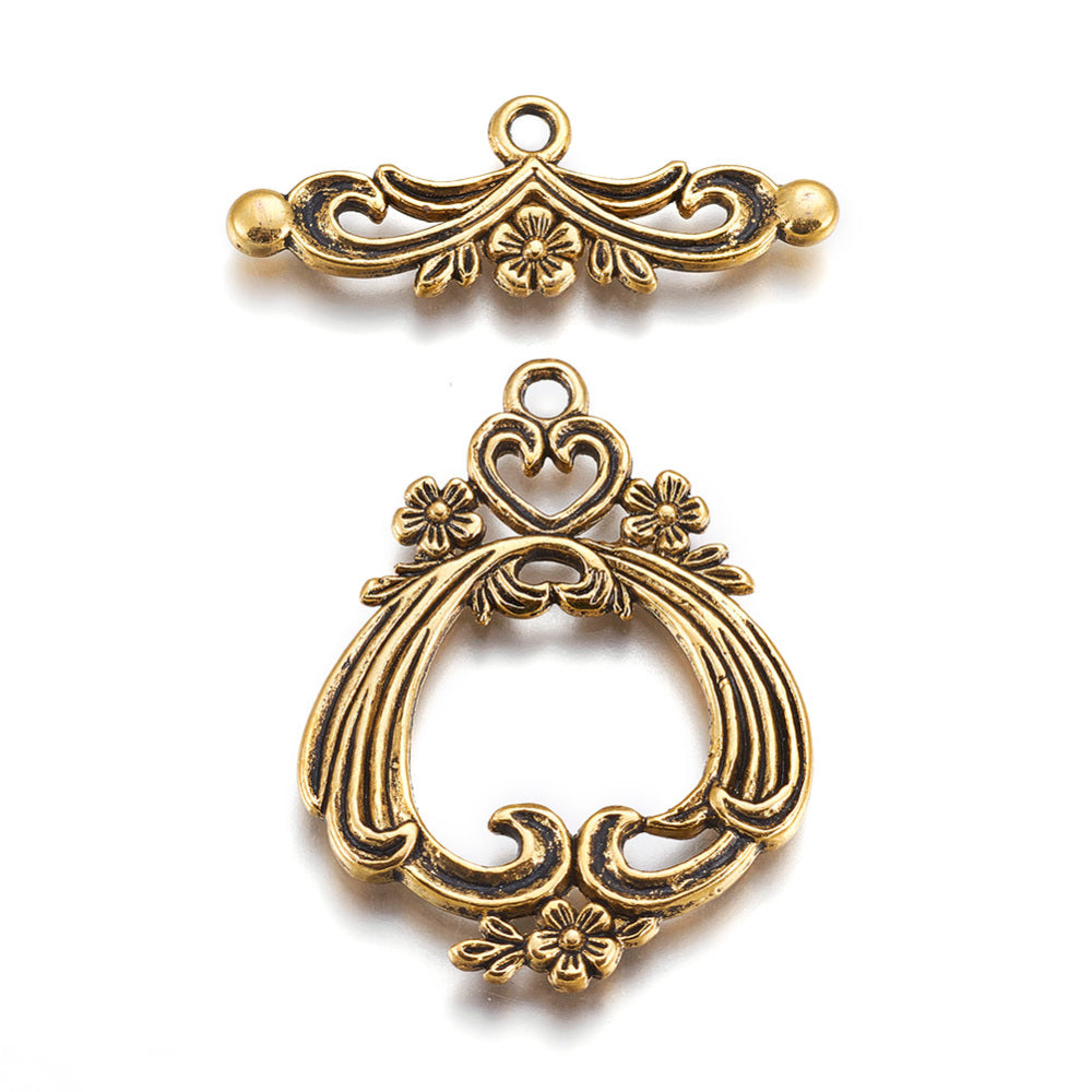 Flower & Heart Toggle Qty: 1 set - Antique Gold or Silver