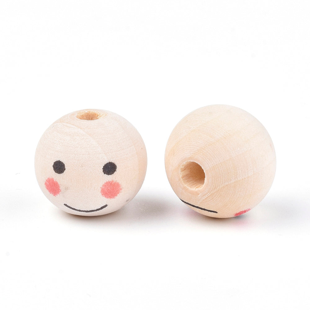 20mm Raw Wood Face Painted Beads - Qty: 5 beads