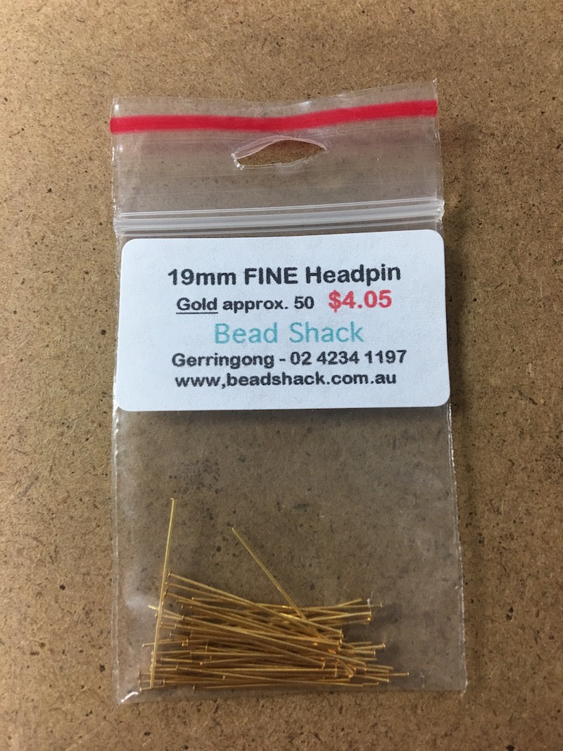 19mm FINE Headpin - Gold - Bead Shack