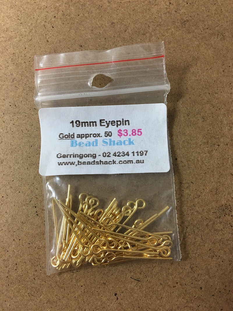 19mm Eyepin - Gold - Bead Shack