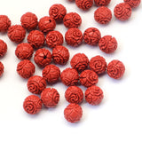 Flower Round Cinnabar Bead 10mm - Qty: 2