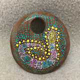 Aboriginal Art - Round Wood Pendant - Snake (Pink, Green & White)