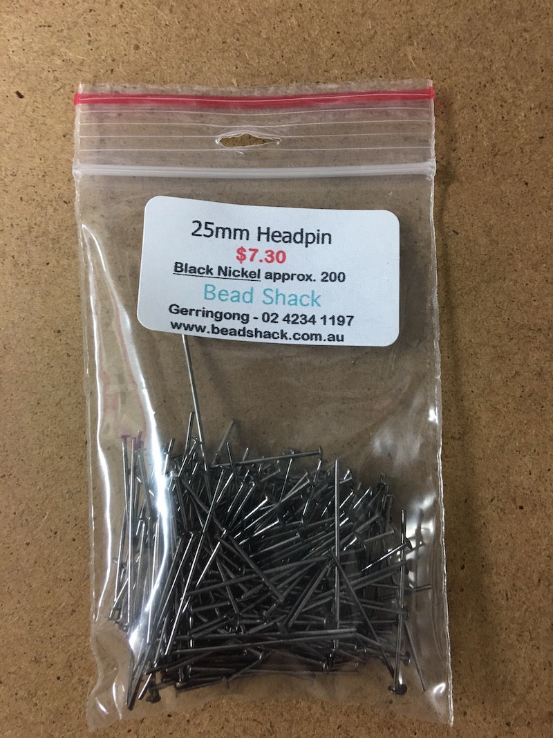 25mm Headpin - Black Nickel - Bead Shack